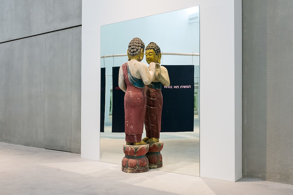 DUBAI, UAE - APRIL 30, 2016: 'The mirror of judgment - Buddism' by Italian artist Michelangelo Pistoletto is exhibited in Leilla Heller Gallery in Alserkal Avenue in Dubai' Al Quoz Industrial Area.