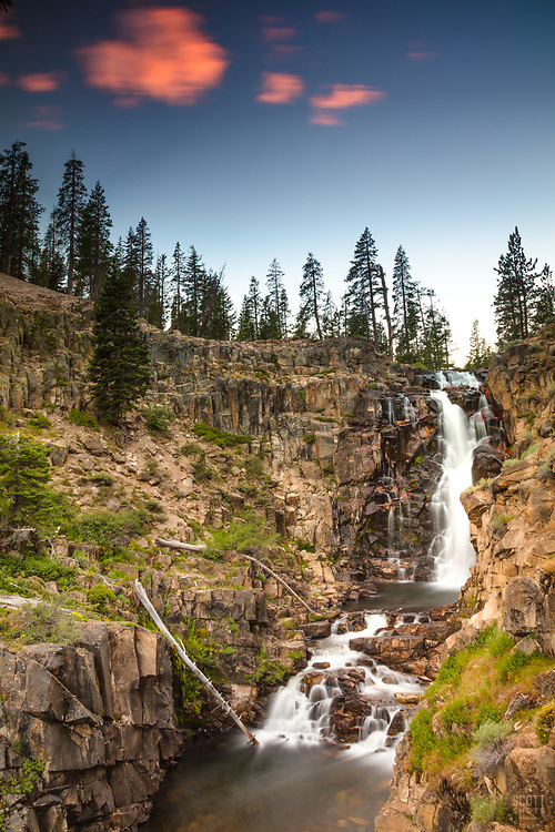 """Webber Falls as Sunset 1"" - Photograph of a flowing Webber Falls, near Webber Lake, north of Truckee California."