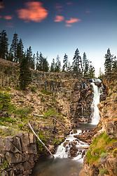 """Webber Falls as Sunset 1"" - Photograph of a flowing Webber Falls, near Webber Lake, north of Truckee California."