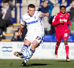 BIRKENHEAD, ENGLAND - Saturday, February 18, 2012: Tranmere Rovers' James Wallace in action against Charlton Athletic during the Football League One match at Prenton Park. (Pic by Vegard Grott/Propaganda)