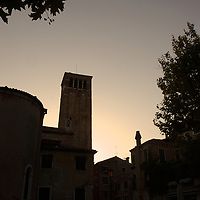 Italian buildings in silhouette in Venice