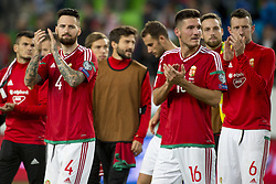 September 3, 2017 - Budapest, Hungary - Tamas Kadar (4) and Adam Pinter (16) of Hungary thanks their fans during the FIFA World Cup 2018 Qualifying Round match between Hungary and Portugal at Groupama Arena in Budapest, Hungary on September 3, 2017  (Credit Image: © Andrew Surma/NurPhoto via ZUMA Press)