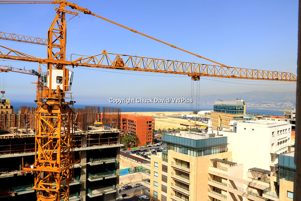 Cranes are busy on the Bierut skyline as reconstrution takes hold in Beirut's historic center after decades of civil war, Lebanon.