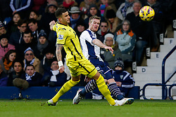 Chris Brunt of West Brom is challenged by Kyle Walker of Tottenham Hotspur - Photo mandatory by-line: Rogan Thomson/JMP - 07966 386802 - 31/01/2015 - SPORT - FOOTBALL - West Bromwich, England - The Hawthorns - West Bromwich Albion v Tottenham Hotspur - Barclays Premier League.