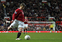 Photo: Paul Thomas.<br /> Manchester United v Aston Villa. The FA Cup. 07/01/2007.<br /> <br /> Ole Gunnar Solskjaer of Man Utd lines up his winning goal.