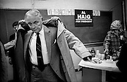 ALEXANDER HAIG BOWS OUT OF THE US PRESIDENTIAL ELECTION RACE IN 1988.<br /> COPYRIGHT PHOTOGRAPH BY BRIAN HARRIS  &copy;<br /> 07808-579804