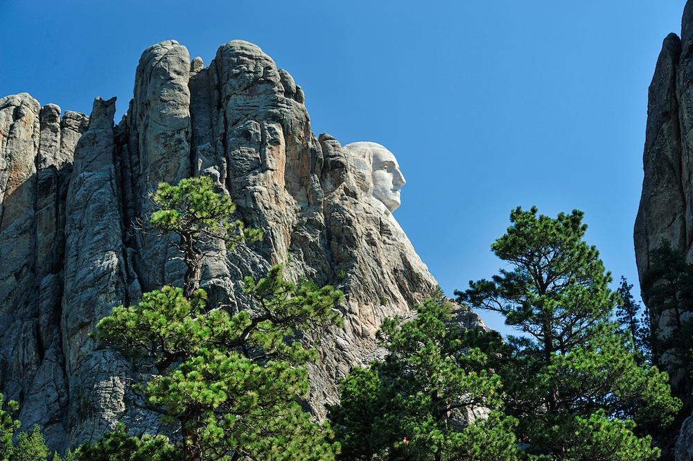 Face of President Washington,Mount Rushmore, Pennington County, Black Hills, Western South Dakota, USA