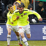 FC Basel forwards Valentin Stocker celebrates with Alexander (Alex) Frei (R) after Frei scored to the score of 0-1 during the AXPO Super League (National League A) soccer match between FC Luzern (FCL) and FC Basel (FCB) at the Gersag stadium in Emmenbruecke, Switzerland, Sunday, February 27, 2011. (Photo by Patrick B. Kraemer / MAGICPBK)