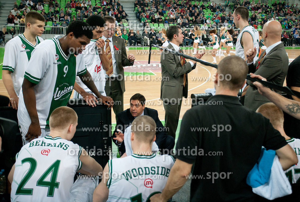 Saso Filipovski, head coach of Union Olimpija with players during basketball match between KK Union Olimpija and Montepaschi Siena (ITA) of 7th Round in Group D of Regular season of Euroleague 2011/2012 on December 1, 2011, in Arena Stozice, Ljubljana, Slovenia. Sena defeated Union Olimpija 63-57. (Photo by Vid Ponikvar / Sportida)