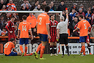 Johnny Mullins of Oxford United is sent off for his second booking after fouling Michael Cheek of Braintree Town during the FA Cup match between Braintree Town and Oxford United at the Avanti Stadium, Braintree<br /> Picture by Richard Blaxall/Focus Images Ltd +44 7853 364624<br /> 08/11/2015