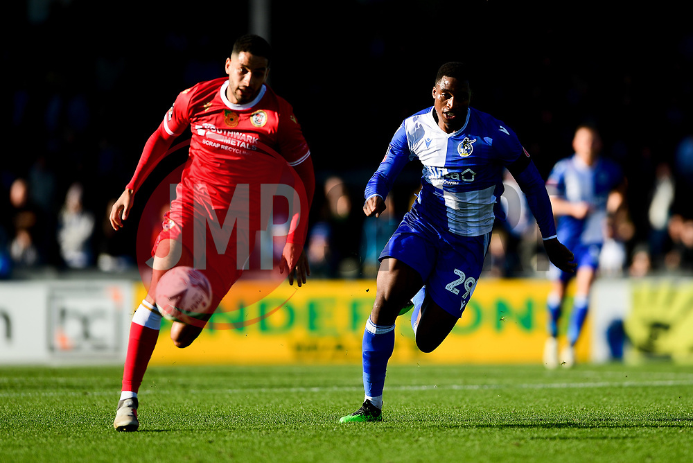 Victor Adeboyejo of Bristol Rovers chases the loose ball - Mandatory by-line: Ryan Hiscott/JMP - 10/11/2019 - FOOTBALL - Memorial Stadium - Bristol, England - Bristol Rovers v Bromley - Emirates FA Cup first round