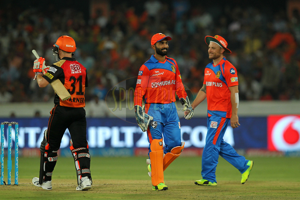 Dinesh Karthik and Brendon McCullum of Gujrat Lions during match 6 of the Vivo 2017 Indian Premier League between the Sunrisers Hyderabad and the Gujarat Lions held at the Rajiv Gandhi International Cricket Stadium in Hyderabad, India on the 9th April 2017Photo by Prashant Bhoot - IPL - Sportzpics