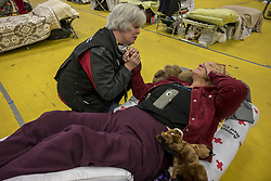 November 18, 2018 - Gridley, California, U.S. - Paradise evacuee KLYDA FLANDERS, 68, was recounting her harrowing ordeal with MICHELE MAKI, public information officer with the Red Cross, and a trained spiritual councilor. ''I'm not going anywhere until I deal with this PTSD,'' said Flanders. ''Thank God I had a job at Gold Nugget Museum, I might have been in bed and slept through it,'' she recounted. She escaped with her three dogs that are now being fostered after she asked for help with them. ''I was very calm, wanted to get them in the car. Your just in a daze. I kept thinking keep your eyes on the road,'' she said. ''I lost a lot of stuff. (Credit Image: © Renee C. Byer/Sacramento Bee via ZUMA Wire)