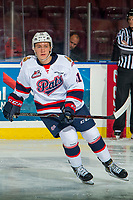 KELOWNA, CANADA - NOVEMBER 21:  Ryker Evans #41 of the Regina Pats warms up against Kelowna Rockets on November 21, 2018 at Prospera Place in Kelowna, British Columbia, Canada.  (Photo by Marissa Baecker/Shoot the Breeze)