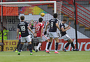 27th January 2018, SuperSeal Stadium, Hamilton, Scotland; Scottish Premiership football, Hamilton Academical versus Dundee; Dundee's Mark O'Hara scores and own goal for 1-0