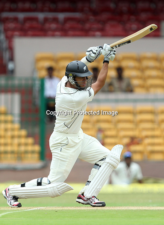 New Zealand cricket tour to India. September 2012 Bengaluru :  NewZealand Skipper Ross Taylor plays a shot against India during the 2nd test at chinaswamy stadium in Bengaluru on Friday.