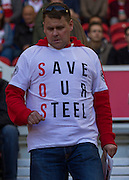 Fans show their protest aginst proposed Steelworks closure in Teeside during the Sky Bet Championship match between Middlesbrough and Leeds United at the Riverside Stadium, Middlesbrough, England on 27 September 2015. Photo by George Ledger.