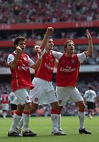Photo: Tony Oudot. <br /> Arsenal v Fulham. Barclays Premiership. 12/08/2007. <br /> Arsenals Cesc Fabregas Robin Van Persie and Mathieu Flamini celebrate the winning goal
