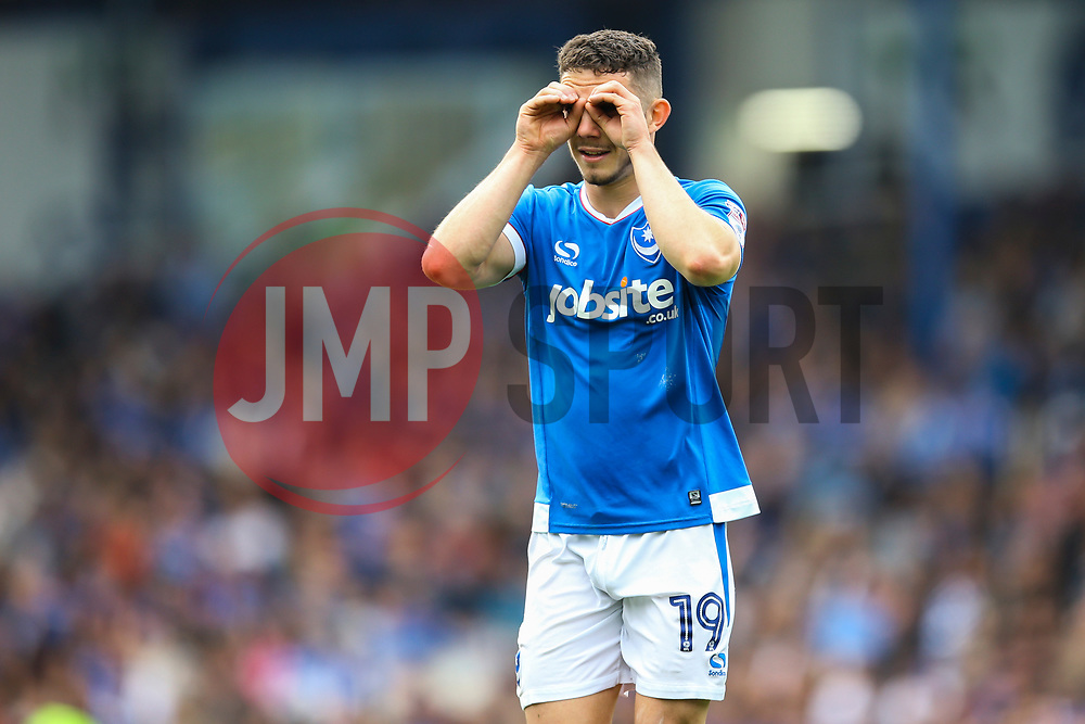 Conor Chaplin of Portsmouth jokes with the Portsmouth fans, looking for the ball - Mandatory by-line: Jason Brown/JMP - 06/05/2017 - FOOTBALL - Fratton Park - Portsmouth, England - Portsmouth v Cheltenham Town - Sky Bet League Two