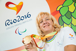 Veselka Pevec of Slovenia posing with a gold medal Two days after she won during the Final of R4 - Mixed 10m Air Rifle Standing SH2  on day 5 during the Rio 2016 Summer Paralympics Games on September 12, 2016 in Olympic Shooting Centre, Rio de Janeiro, Brazil. Photo by Vid Ponikvar / Sportida