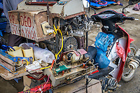 BAC HA, VIETNAM - CIRCA SEPTEMBER 2014:  Motorbike at the Bac Ha sunday market, the biggest minority people market in Northern Vietnam