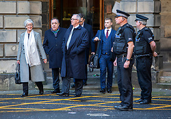 Alex Salmond leaves Parliament House after meeting his legs team after the High Court.