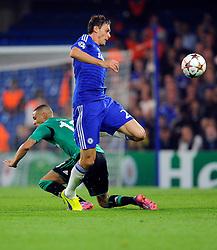 Chelsea's Nemanja Matic battles for the ball with FC Schalke 04's Sidney Sam  - Photo mandatory by-line: Joe Meredith/JMP - Mobile: 07966 386802 - 17/09/2014 - SPORT - FOOTBALL - London - Stamford Bridge - Chelsea v Schalke 04 - Champions League Group Stage