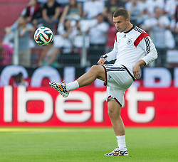 06.06.2014, Coface Arena, Mainz, GER, FIFA WM, Testspiel, Deutschland vs Armenien, im Bild Lukas Podolski (Deutschland) mit Ball in der Luft // during friendly match between Germany and Armenia for Preparation of the FIFA Worldcup Brasil 2014 at the Coface Arena in Mainz, Germany on 2014/06/06. EXPA Pictures © 2014, PhotoCredit: EXPA/ Eibner-Pressefoto/ Neis<br /> <br /> *****ATTENTION - OUT of GER*****