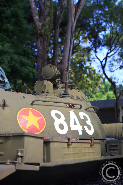Replicas of the tanks that crashed the front gates of the Independence Palace at the end of the Vietnam War in 1975.