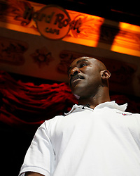 August 30, 2007; New York, NY, USA; Evander Holyfield poses during the final press conference for his upcoming fight against WBO Heavyweight Champion Sultan Ibragimov.  The two will meet on Saturday, October 13th, at the Khodynka Ice Palace in Moscow, Russia.