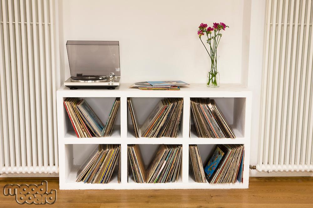 Shelf with vinyl records