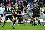 Adam Jones of the Ospreys © passes the ball to full-back Richard Fussell. Heineken cup rugby, pool 2, Ospreys v Leicester Tigers at the Liberty Stadium in Swansea, South Wales on Sunday 13th Jan 2013. pic by Andrew Orchard, Andrew Orchard sports photography,