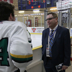 COCHRANE, ON - MAY 2: SIJHL Commissioner Bryan Graham has a pregame conversation on May 2, 2019 at Tim Horton Events Centre in Cochrane, Ontario, Canada.<br /> (Photo by Tim Bates / OJHL Images)