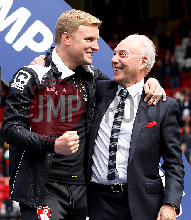 Bournemouth Manager, Eddie Howe and AFC Bournemouth Chairman Jeff Mostyn - Photo mandatory by-line: Robbie Stephenson/JMP - Mobile: 07966 386802 - 02/05/2015 - SPORT - Football - Charlton - The Valley - Charlton v AFC Bournemouth - Sky Bet Championsip