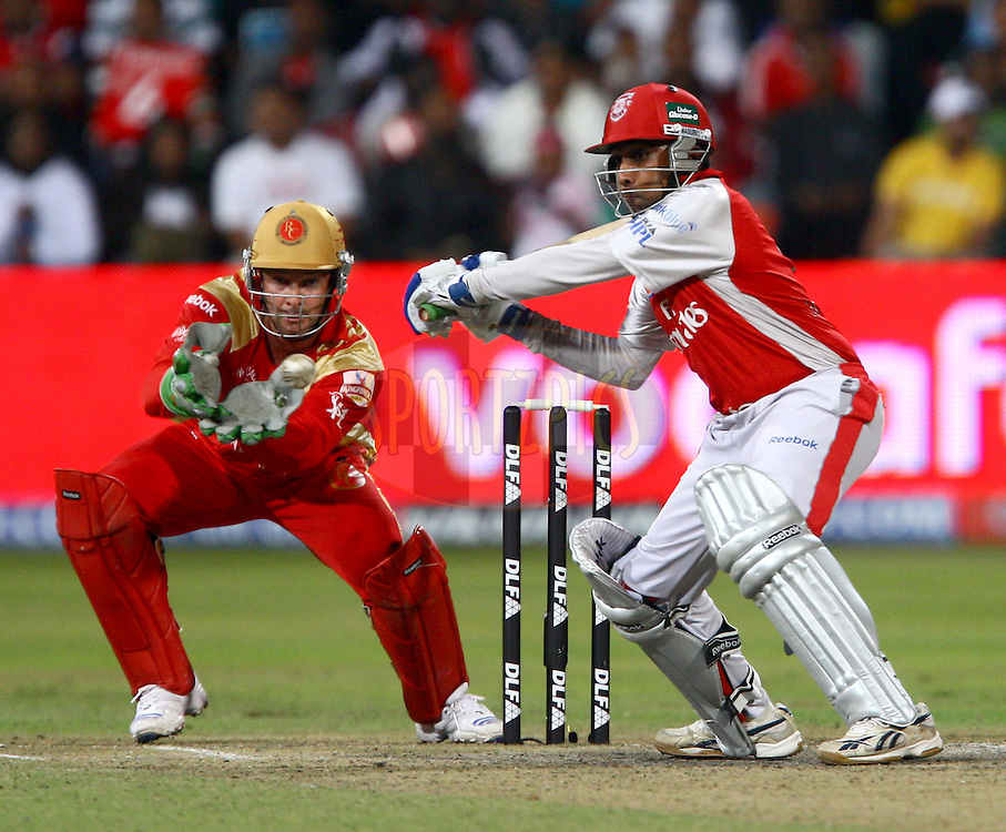 DURBAN, SOUTH AFRICA - 1 May 2009.Boucher waits gloves ready for Jayawardene to make an mistake during the IPL Season 2 match between Kings X1 Punjab and the Royal Challengers Bangalore held at Sahara Stadium Kingsmead, Durban, South Africa..