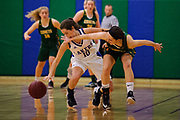 BFA's Elena Clark (11) battles for the ball with Colchester's Gabby Gosselin (10) during the girls basketball game between the BFA St. Albans Comets and the Colchester Lakers at Colchester High School on Friday night December 15, 2017 in Colchester. (BRIAN JENKINS/for the FREE PRESS)