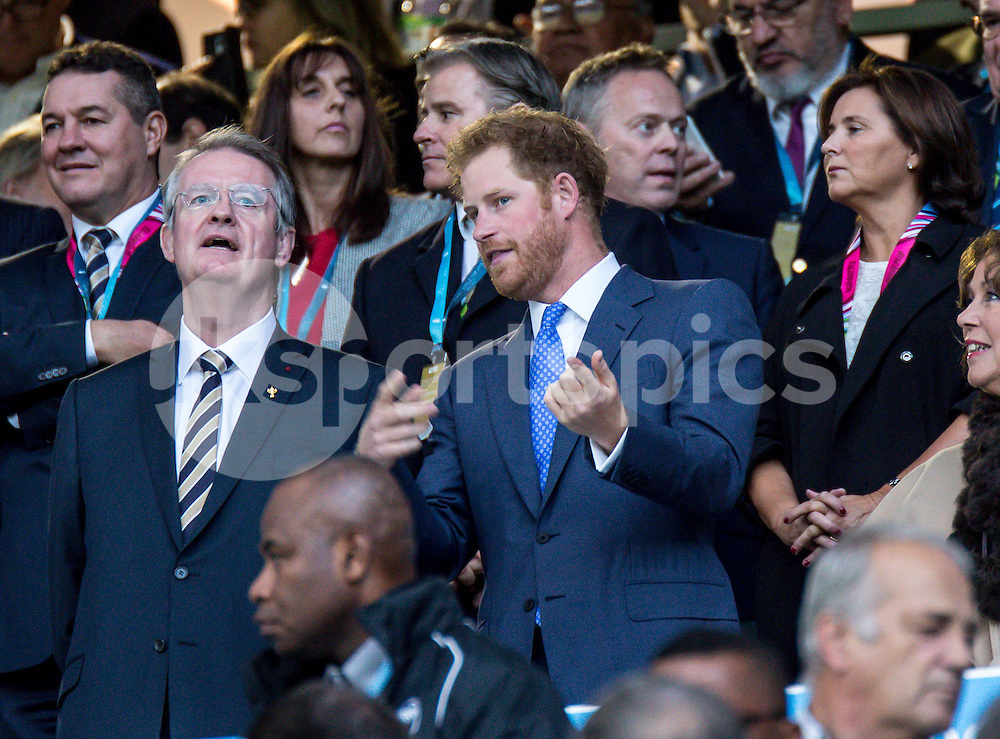 Prince Harry at the opening ceremony during the Rugby World Cup 2015 Pool A match between England and Fiji played at Twickenham Stadium, London on 18 September 2015. Photo by Liam McAvoy.