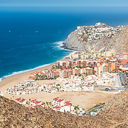 Aerial view of the Solmar beac hotels in Cabo San Lucas.