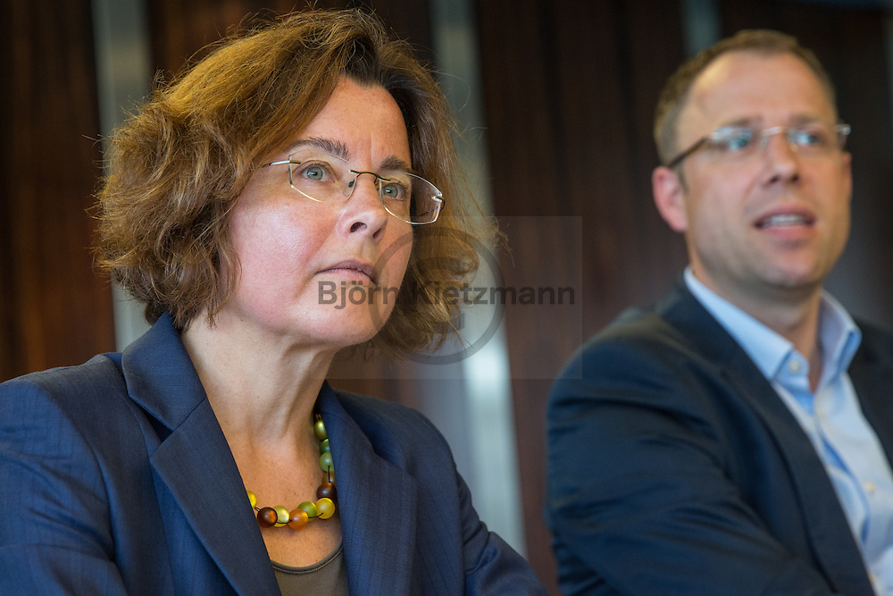 Berlin, Germany - 20.07.2016<br /> <br /> Berlin launches a new State Office for Refugee Affairs (LAF). Press conference with Senator for Health and Social Affairs Mario Czaja and Claudia Langeheine, the head of the new refugee agency. Main office of the Authority is the building of the former Berliner Landesbank, also the news conference was held here.<br /> <br /> Berlin startet Landesamt f&uuml;r Fluechtlingsangelegenheiten (LAF). Pressekonferenz mit Senator fuer Gesundheit und Soziales Mario Czaja und Claudia Langeheine, der Leiterin des neuen Fluechtlingsamtes. Sitz der Behoerde wird das Geaeude der ehemalige Berliner Landesbank, hier fand auch die Pressekonferenz statt.<br /> <br /> Photo: Bjoern Kietzmann