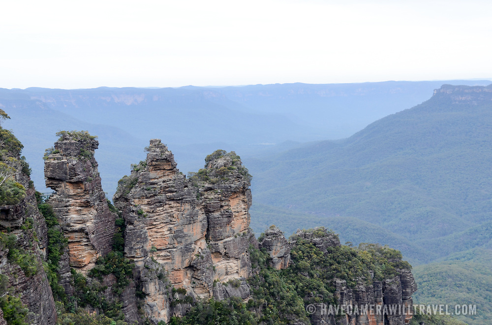The natural rock formation known as the Three Sisters in the Blue Mountains as seen from Echo Point in Katoomba, New South Wales, Australia.
