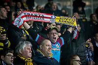 ROTTERDAM - Sparta Rotterdam - Vitesse , Voetbal , Halve Finale KNVB Beker , Seizoen 2016/2017 , Sparta stadion het Kasteel , 01-03-2017 ,  Supporter van Vitesse met Sparta / Vitesse sjaal