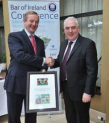 An Taoiseach Enda KennyTD with David Nolan SC, Chairman of the Bar of Ireland as he paid visit to the Bar of Ireland Conference in Westport.<br />Pic Conor McKeown
