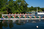Henley on Thames, England, United Kingdom, 3rd July 2019, Henley Royal Regatta, First Race of the day, Thames Challenge Cup, Kingston RC B vs Wairau RC., NZL,  <br />