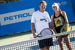 Uros Mesojedec and Kaja Juvan during ATP Challenger Zavarovalnica Sava Slovenia Open 2017, on August 12, 2017 in Sports centre, Portoroz/Portorose, Slovenia. Photo by Vid Ponikvar / Sportida
