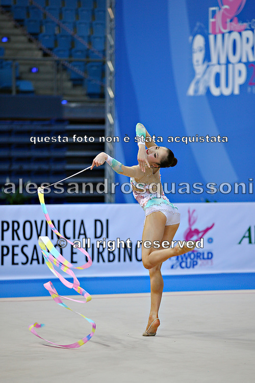 Minagawa Kaho of Japan competes during Individual qualification of ribbon in the World Cup at Adriatic Arena on April 27, 2013 in Pesaro, Italy. Kaho was born on August 20,1997 in Chiba Prefecture, Japan.