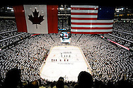 May 13, 2012; Glendale, AZ, USA; Overall view of the National Anthem prior to the first period of game one of the Western Conference finals of the 2012 Stanley Cup Playoffs at Jobing.com Arena.  Mandatory Credit: Jennifer Stewart-US PRESSWIRE.