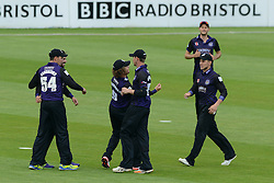 Hamish Marshall of Gloucestershire celebrates with his team mates after catching the ball - Photo mandatory by-line: Dougie Allward/JMP - Mobile: 07966 386802 - 15/05/2015 - SPORT - Cricket - Bristol - Bristol County Ground - Gloucestershire County Cricket v Middlesex County Cricket - NatWest T20 Blast