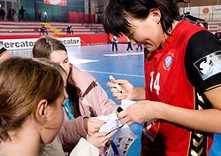 Liudmila Bodnieva with fans after the handball match of Round 3 of Champions League between RK Krim Mercator and Hypo Niederosterreich, on November 8, 2009, in Arena Kodeljevo, Ljubljana, Slovenia.  Krim won 35:24. (Photo by Vid Ponikvar / Sportida)