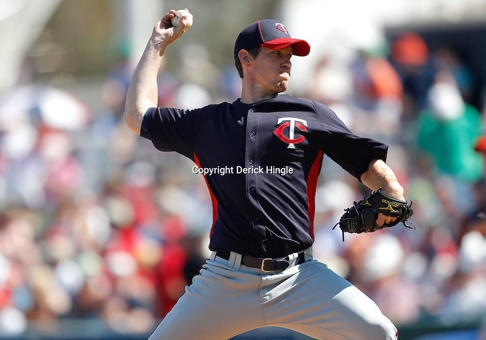 February 28, 2011; Fort Myers, FL, USA; Minnesota Twins starting pitcher Kevin Slowey (59) during a spring training exhibition game against the Boston Red Sox at City of Palms Park.  Mandatory Credit: Derick E. Hingle