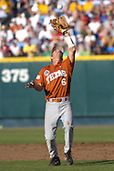 Texas second basemen Robby Hudson catches a infield popup in the thrid inning against Baylor.  Texas defeated Baylor in the first round of the College World Series 5-1 at Rosenblatt Stadium in Omaha, Nebraska on June 18, 2005.